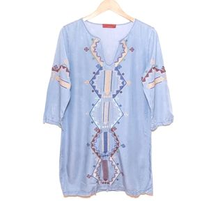Signature8 Chambray Embroidered Peasant Boho Dress